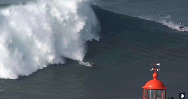 Carlos Burle no Surfline com uma bomba em Nazaré